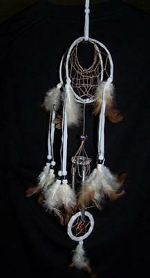 3e6fcccbae6b WHITE DOUBLE LOOP 18 INCH DREAMCATCHER real feathers chimes beads dream  catcher