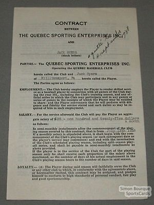 1938 Quebec Baseball Contract Signed by Jack Byers