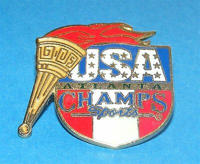ATLANTA 1996 Olympic Collectible Sponsor Pin - Champs Sports USA Flag & Torch