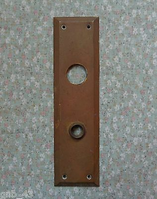 Large Vintage Brass Beveled Edge Door Knob Back Plate 10-1/2""