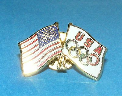 ATLANTA 1996 Olympic Collectible Logo Pin - Olympic Flag and USA Flag