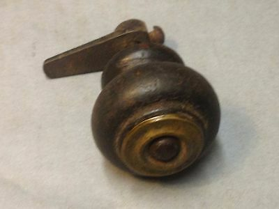 Antique Vintage Early Brass  Wood Furniture Knob Pull Part