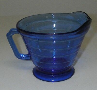 Hazel Atlas Glass MODERNTONE transparent Cobalt Blue Creamer Depression