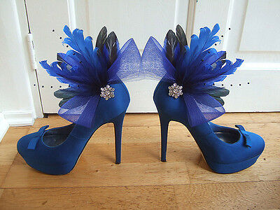 Royal Blue Black Feather Crystal Brooch Fascinator Shoe Clips SC102 1 x Pair