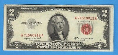 CRISP $2 DOLLAR 1953B RED SEAL Legal Tender United States Note ANTIQUE USA MONEY