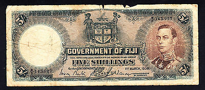 Fiji 1938 5 Shillings  George VI  P. 37b Rare Note
