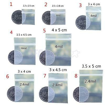 100pcs 4mil/2mil Clear Ziplock Bag Poly Plastic Bags Recyclable Bags