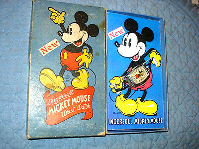 Mickey Mouse 1939 Ingersoll Character Watch. VF In Box W/ Laser Insert, Works