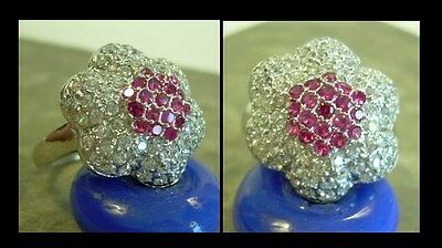 pink CZ + 14K Gold Plate ~ FLOWER RING  sz 8 ~ NEW ruby