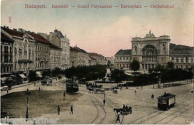 Budapest, Baross Square, Keleti Railway Station, old coloured postcard, unposted