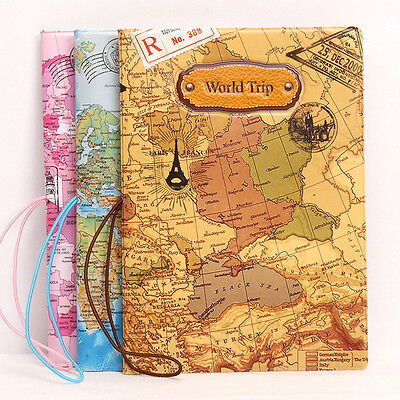 World Map Passport ID Holder Organizer Travel Card Case Document Cover Leather ~