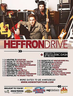 """Heffron Drive /ariana & The Rose """"winter Tour"""" 2013 United States Concert Poster"""