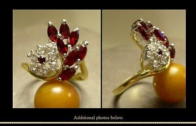 Red CZ + 14K GoldPlate ~ FASHION RING  sz 9 ~ NEW ruby