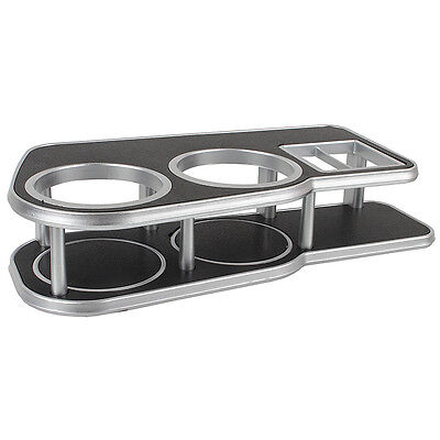 Auto Car Dashboard Table Drink Food Double Din Cup Tray Holder Stand Desk Silver