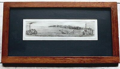 FARM TRACTORS PLOUGHING PLOUGH FARMING original engraving ANTIQUE ETCHING framed