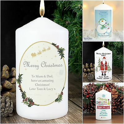 Personalised Christmas Candle Table Decoration Advent Xmas Gift Idea