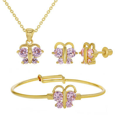 18k Gold Plated Pink CZ Butterfly Jewelry Set Babies, Toddlers & Infants