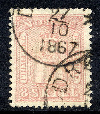 NORWAY 1863 Arms 8sk.  fine used.