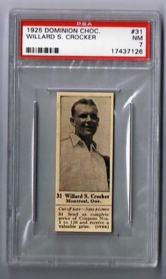 1925 Dominion Choc. Sports Card #31 Willard S. Crocker (Tennis) Graded PSA 7
