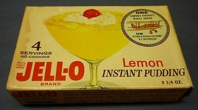 1960's Very Rare Jell-O Instant Pudding Aircraft Wheel Advertising Full Box