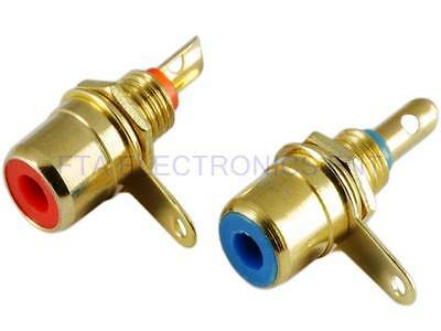 2pc Gold Plated RCA Jack Terminal Female Chassis HIFI Audio Connector Amplifier