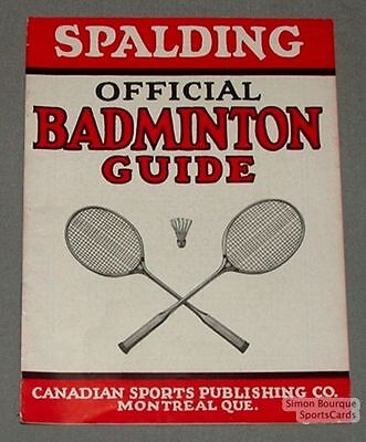 1930s Spalding's Canadian Official Badminton Guide Book