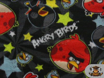"Fleece Printed Fabric ANGRY BIRDS STARS BLACK / 58"" Wide / Sold BTY SL-511"