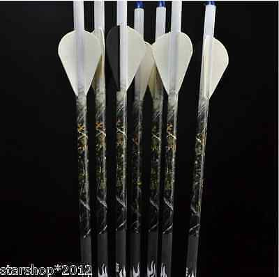 "6pcs 30""Archery Carbon Arrow for Compound Bow Spine 400 Hunting Carbon Arrows"