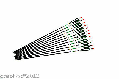 SP500 Hunting Archery Carbon Arrows with White&Green Real Turkey Feather Hides