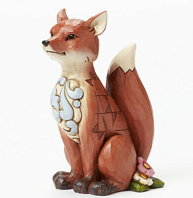 New JIM SHORE Figurine WOODLAND RED FOX Quilted Statue HEARTWOOD CREEK Garden