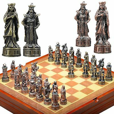 Arabian themed Chess Set. Pewter Pieces  Wood Board & Box