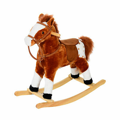 HOMCOM Children Rocking Plush Horse Toy Pony Wooden Ride Rocker w/ Sound Brown
