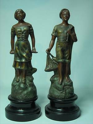 PAIR French Spelter PECHEUR et PECHEUSE Figures Fisherman and Fisherwoman