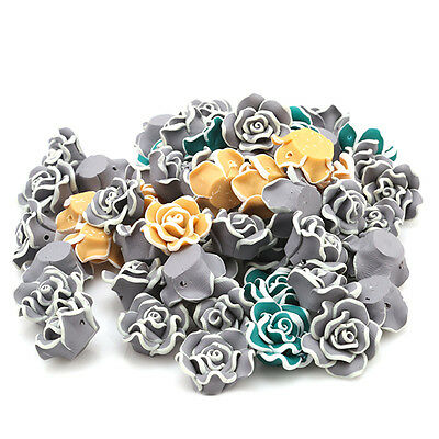 20pcs White Edge Mixed Color FIMO Clay Rose Bead 20mm Fit Handmade DIY Charms LC