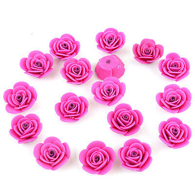 10pcs Rose Red FIMO Polymer Clay Rose Charms Flower Fit Jewelry Making Carfts C