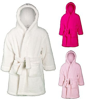 Girls Snuggle Dressing Gown Supersoft Fleece Bath Robe Hooded Housecoat Size
