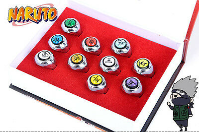 10 pcs Naruto Rings Cosplay NARUTO Akatsuki Member's Ring Pendant Set New NO box