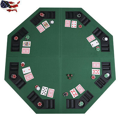 """48"""" Green Octagon 8 Player Four Fold Folding Poker Table Top & Carrying Case US"""