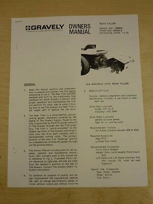 Gravely Rear Tiller Owners Manual Model #18886E1