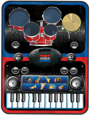 2 in 1 Piano and Drums Music Jam Playmat Learn Keyboard Drum Kit Electronic Fun