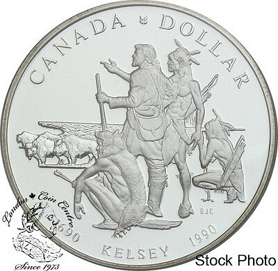 Canada 1990 $1 Henry Kelsey Tricentennial Proof Silver Dollar - in Capsule Only