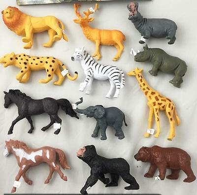 1 pack ASSORTED PLAY 7 INCH RUBBER ZOO WILD ANIMALS toy plastic pvc  play animal