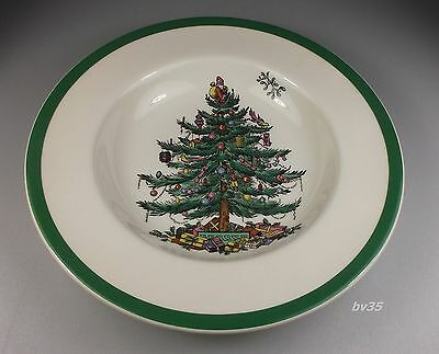 """SPODE CHRISTMAS TREE RIMMED SOUP BOWLS  7 3/4"""" - made in ENGLAND- PERFECT!"""