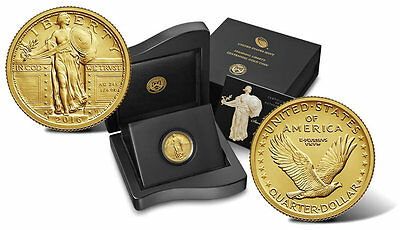 2016 W Standing Liberty Quarter Gold Centennial Commemorative Coin W/ Ogp 16Xc