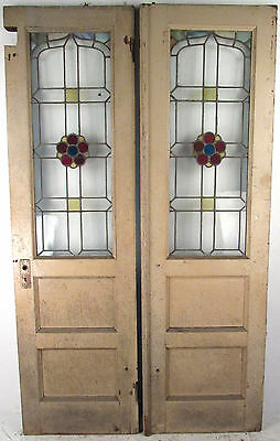 Pair of Vintage Stained Glass Exterior Doors (9504)NJ