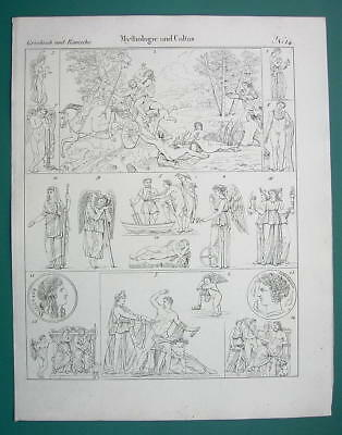 MYTHOLOGY Gods Convention Persephone Nemesis Orestes - 1825 Antique Print