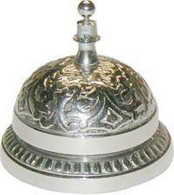 Desk Bell - Cast Brass Nickel Plated - Victorian Style Antique Service