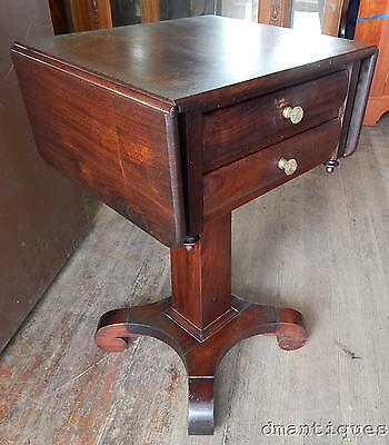 Antique c1860's Empire Solid Mahogany 2-Drawer Lamp/End/Work Table Night Stand