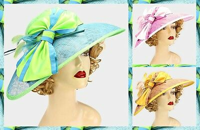 Color Block Bow Feather Sinamay Kentucky Derby Church Dressy Wedding Hat