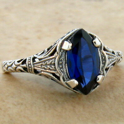 Antique Design Royal Blue Lab Sapphire .925 Sterling Silver Ring Size 10, #797